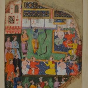 Rama breekt de boog van heer Shiva aan het hof van Raja Janaka te Mithila, Provinciale Mogol-stijl, Orchha, Bundelkhand, begin 17de eeuw