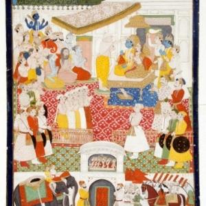 De kroning van Rama door de wijze Vashishtha, Jodhpur-stijl, Rajasthan, begin 19de eeuw