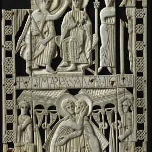 Ivoires de Genoels-Elderen, Provenance : église Saint-Martin de Genoels-Elderen (près de Tongres), réalisés en Northumbrie (Angleterre) ?, fin VIIIe siècle, ivoire, verre bleu, MRAH
