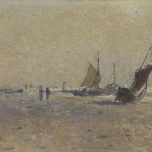 sloepen op het strand, Lucien Frank Dominique Provost