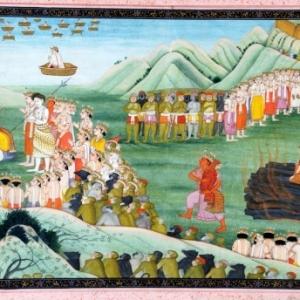 Agni Pariksha of de Vuurproef van Sita. De Vuurgod draagt Sita naar Rama en alle goden en wijzen brengen hulde aan Rama en Sita. Kangra-stijl, Pahari, ca. 1800