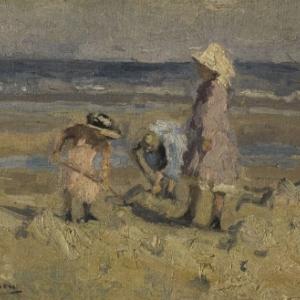 Drie meisjes op het strans,Isidore Verheyden, Hugo Maertens