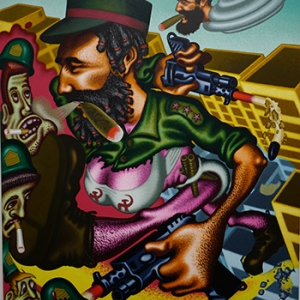 """Castro s Mother destroys Miami"" (1994) (c) Peter Saul/""Artist s Rights Society"", New York"