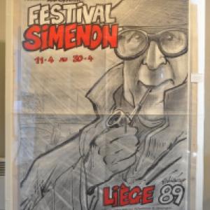 "Affiche realisee pour un ""Festival Simenon"" (c) Walthery/""Affipage""/""Syndicat d Initiative de Jambes"""