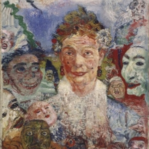 """Vieille Dame aux Masques"",  James Ensor, 1889"