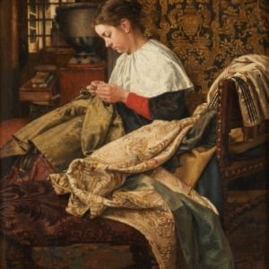 """La Racommodeuse de Chasubles"" (1870) (c) Henri De Braekeleer"