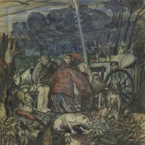 """""""Les Errants"""" (1889-1890/craie noire-couleurs, encre de Chine et gouache sur papier/87,3 x 72,5 cm)"""