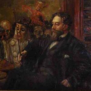 """James Ensor, peint par Henry Degroux (1906-07/huile sur toile/102 x 131 cm/""""Mu.ZEE""""-Oostende)"""