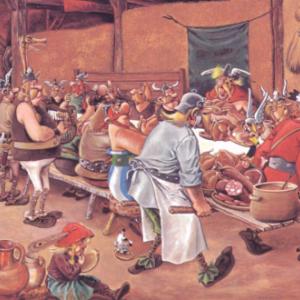 """""""Le Repas de Noce"""" de Pieter Breughel l'ancien, revue, a la gauloise, par (c) Albert Uderzo/""""Dargaud""""/1979"""