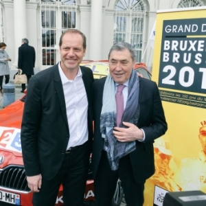 "Christian Prudhomme et Eddy Merckx, lors de la presentation du ""Brussels Grand Depart"" 2019 (c) ""Twitter TDF"""
