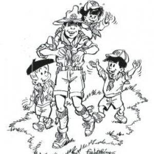 """Autoportrait du dessinateur """"boy scout"""" (c) Walthery/""""Oufti""""/""""Syndicat d Initiative de Jambes"""""""