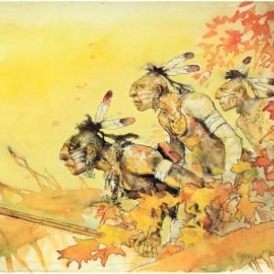 """Indiens nord-americains peints par (c) Hugo Pratt/""""Cong"""" S.A."""