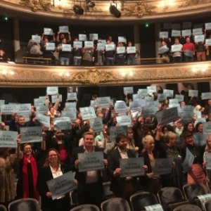 """Au """"Theatre de Namur"""", avec Maxime Prevot, Bourgmestre, et Anne Barzin, 1re Echevine (c) C.H./""""La Meuse"""""""