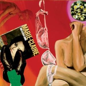 """""""Marie-Claire""""/1964/l un des 17 premiers collages et huile sur toile/70 x 90 cm/Coll. Philippe Axell"""