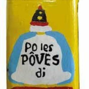 """""""Tchirlicke"""" (tirelire) jaune, """"po les poves di Moncrabeau"""""""