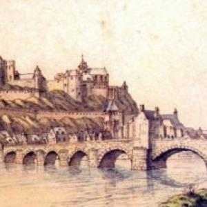 """Gravure de 1695, avec la """"Tour Beauregard"""", vue de Jambes (c) """"Soc. Archeologique de Namur"""""""