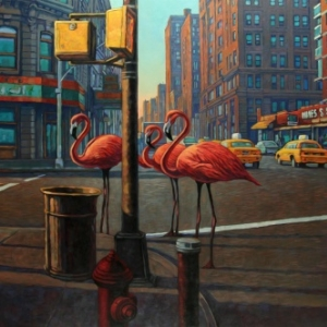"""New-York Broadway Astor"" (c) Miles Hyman/""Huberty & Breyne Gallery"""