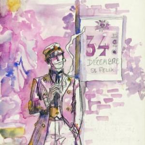 """Corto Maltese"", en aquarelle (c) Hugo Pratt/""Cong"". S.A."