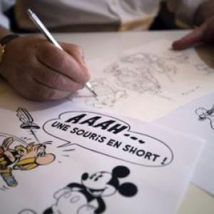 "Albert Uderzo, grand fan de Walt Disney (c) Joel Saget/""AFP"""