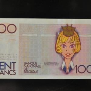 """Billet factice de cent francs beges, presente par """"Oufti"""" (c) Walthery/""""Syndicat d Initiative de Jambes"""""""