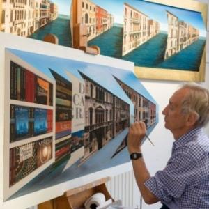 "Patrick Hughes realisant ses etonnants tableaux en reverspective (c) ""Axel Pairon Gallery"""