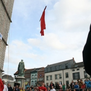 Le lancer d'un drapeau en compétition