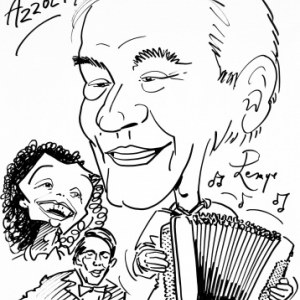 Marcel Azzola, avec Jacques Brel et Edith Piaf, caricature de JM Lesage