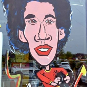 Caricature de Axel Witsel, peinture sur vitre