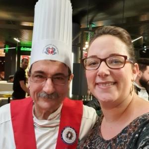 Stephanie Remacle et Pino Nacci le president de la federation italienne des cuisiniers