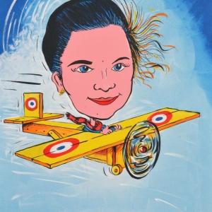 caricature Alice dans l'avion en bois de Tintin