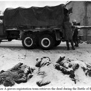 Houffalize A graves registration team retrieves the dead during the Battle of the Bulge