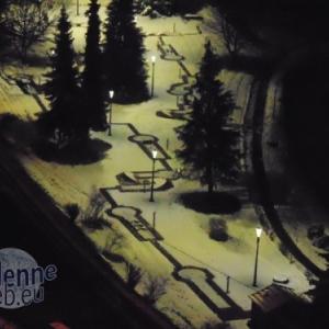 Houffalize by night. Le golf sous la neige. Illuminations. Cheap cheap