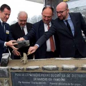 Charles Michel pose la 1ere pierre du nouveau centre de distribution Lidl de Marche-en-Famenne