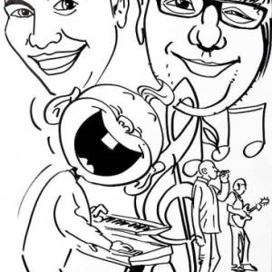 Animation caricature naissance fils organiste