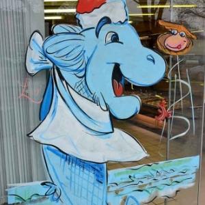 caricature du poisson pour la vitrine du poissonier