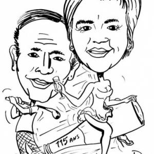 caricature golf et champagne