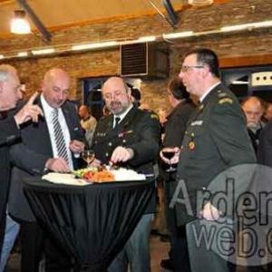 Willy Heinzius (echevin de Bullingen, Erwin Franzen (Echevin de Butgenbach, Major Johan De Clercq, commandant en second du Camp Elsenborn, et Adjudant Didier Malisse, responsable envir. du Camp Elsenborn