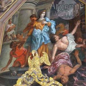 Sinte Catrine avou s'rouwe (peinture dans le choeur de Ste-Catherine Houffalize ph J.-M Lesage)