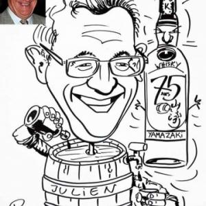 caricature minute 75 ans de Juien amateur du whisky japonais Yamazaki
