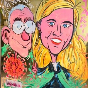 Vandenbroeke ministre de la santé sur les vitrines peintes pour NOEL par Jean-Marie Lesage