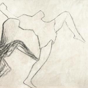 Guy Vandeloise, Echevelée, fusain sur toile gesso, 2019, 90 x 144 cm