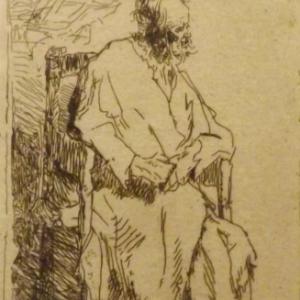 Vieil homme dans un long manteau assis dans un fauteuil  ( vers 1630 )