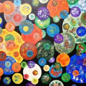 Acrylique sur toile et papier  de Monique Wouters - Delvigne
