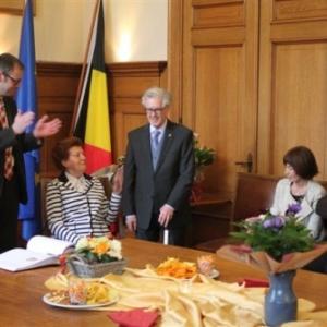 Reception communale : intervention du Bourgmestre JP Bastin ( photo de Michael ALMER )
