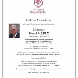 La Royale Malmédienne, orpheline de son centenaire, Henri MARLY