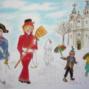 Marie MORAY  Trouv'le, grosse Police, Djoupsene, .. devant la Cathedrale