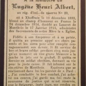 Avis mortuaire d'un habitant de Malmedy