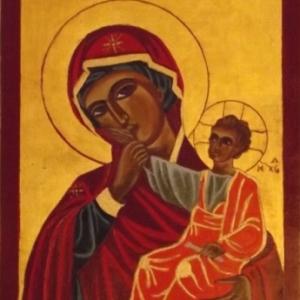 La Vierge et l' Enfant ( technique de la flaque pour certaines couleurs )