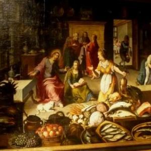 """""""Jesus chez Marthe et Marie ( entre 1600 et 1610 )"""