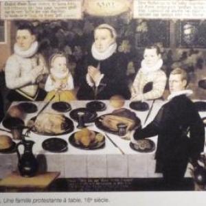 """"""" Une famille protestante a table """" ( Ecole hollandaise )"""